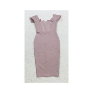 ASOS Blush Pink Bodycon Scalloped Dress Sz 4